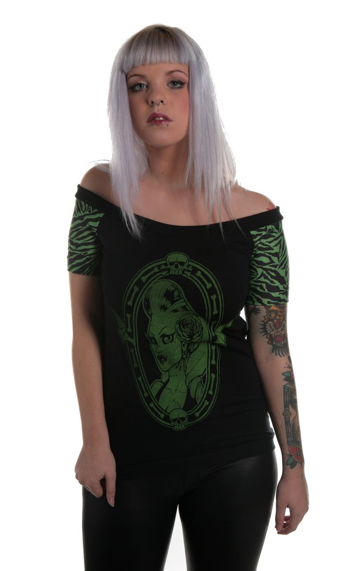 Cameo Green Zebra Horror Psychobilly Top