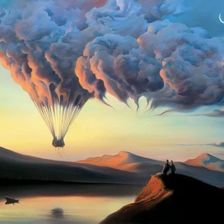 """I want to write a book like a #cloud that changes as it goes."" ― R.Sukenick ❇ Vladimir Kush  #art #painting #drawing #creative #artwork #illustration #creativity #life #evolution #travel #fly"