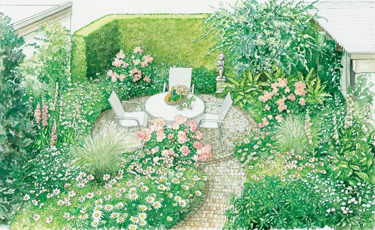 Viele Gartenbesitzer müssen sich mit einem kleinen Grundstück zufrieden geben. Aber keine Sorge: Auch daraus lässt sich mit etwas Fantasie ein schöner Garten gestalten. Wir präsentieren zwei Vorschläge zum Nachpflanzen. (Pflanzplan als PDF zum Herunterladen und Ausdrucken)