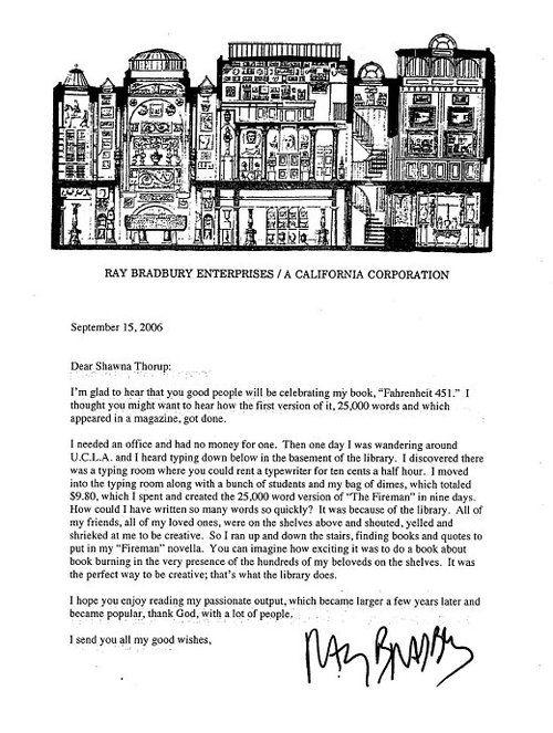 Ray Bradbury on writing Fahrenheit 451 in a library.