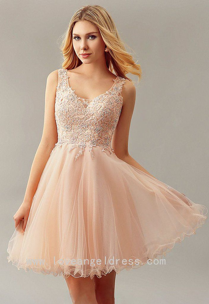 Beaded Appliqued Tulle Blush Homecoming Gown Short Party