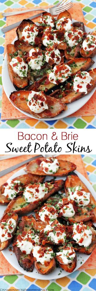 Loaded Bacon and Brie Sweet Potato Skins