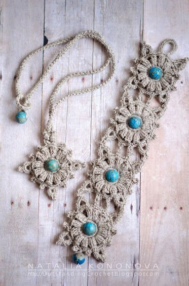 I like to make these linen crochet cuffs and necklaces. They are so comfortable to wear and they are fast projects, the value that we all consider! :) A couple of new ones:   Happy crocheting, my dear