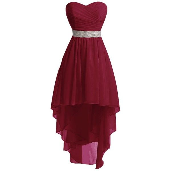 Chengzhong Sun Women High Low Lace Up Prom Party Homecoming Dresses ($40) ❤ liked on Polyvore featuring dresses, night out dresses, high low prom dresses, going out dresses, red dress and cocktail prom dress