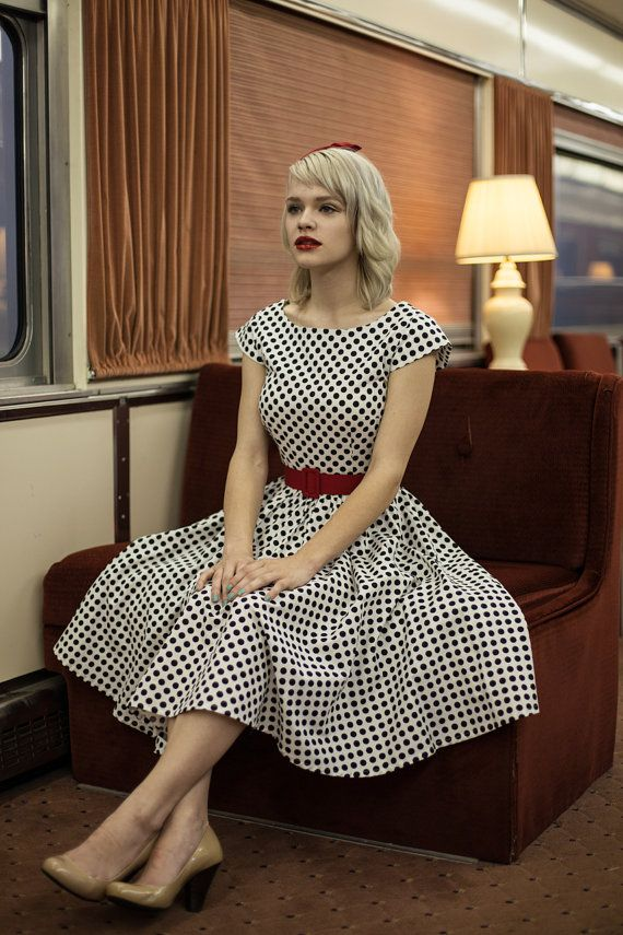 retro dress - custom made clothing - black and white polka dots