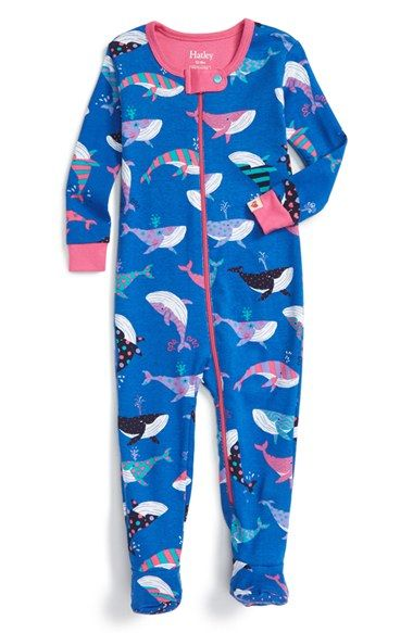 Hatley 'Fun Whales' Fitted One-Piece Pajamas (Baby Girls) available at #Nordstrom