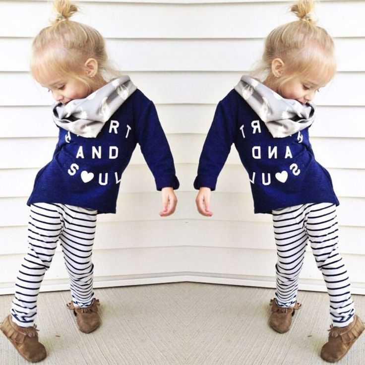 Girls 2 Piece Heart and Soul Long Sleeve Printed Shirt and Striped Leggings Outfit Set