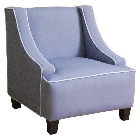 Kids Upholstered Swoop Arm Chair Gray Big Girl Room
