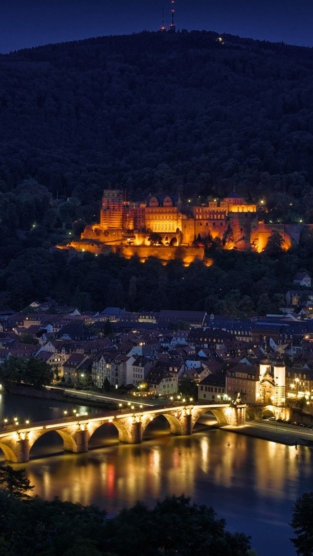 Heidelberg at night, Germany | one day I'll go back and visit my cousins again