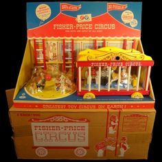 Vintage Fisher Price Circus Set #900 –Animals & Wagon Toy– 1962 w/ Store Display #FisherPrice