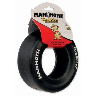 """Made from specially formulated natural extra-tough rubber, reinforced with two-ply nylon, it'll stand up to whatever your pooch can give it.   TireBiter Racing Slicks have the toughness of real tires to satisfy your dog's most intense chewing urges.  Toss, tug & floss toy for dogs Natural """"EXTRA"""" rubber has the toughness of real tires Perfect for interactive play Made for strong chewers Medium: 5.75"""" diameter    WaggMore recommends supervising your pet while he or she is playing with any…"""