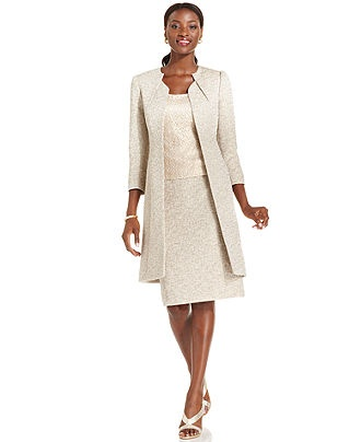 Tahari by asl suit metallic tweed long jacket lace shell for Womens dress jacket wedding