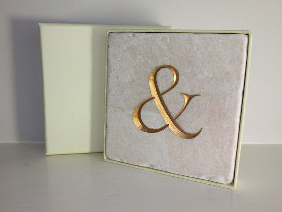 Symbol '&' Gold Ampersand Carving in Stone Tile. Wall hanging. Decorative Arts.