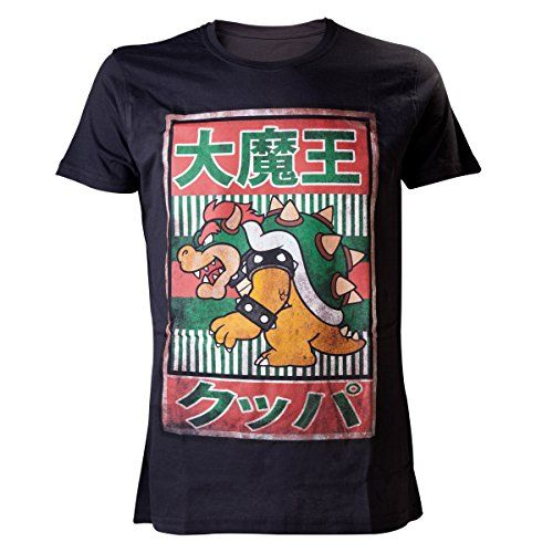 Nintendo Super Mario Bros Bowser With Kanji Text Mens T-Shirt Black Medium @ niftywarehouse.com #NiftyWarehouse #Geek #Fun #Entertainment #Products