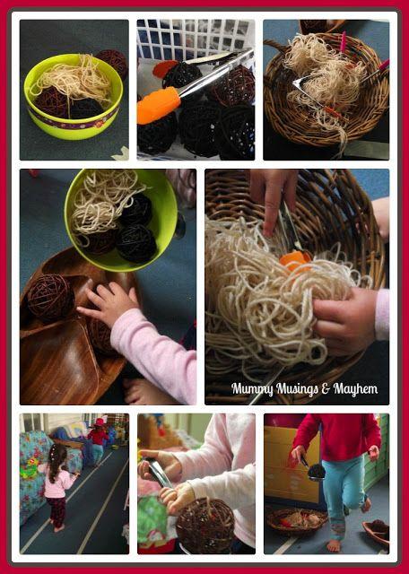 Spaghetti and meatball yarn fine motor activity