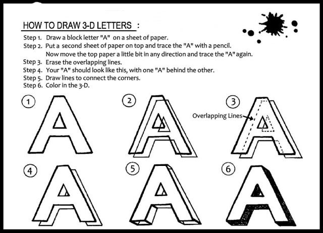 How To Draw Three Dimensional Letter A For Beginners - Learn To Draw And Paint