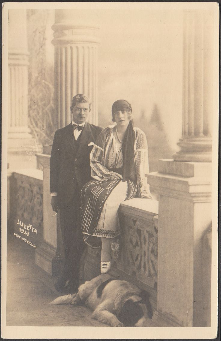 "Crownprince Carol of Romania (later King Carol II) and Crownprincess Helena, nee Pss of Greece, later ""Regina Mama"". Early 1920s"