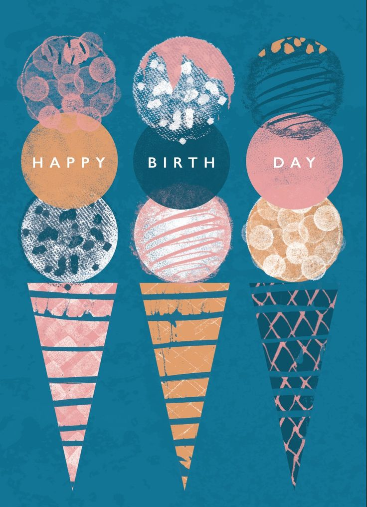 Rebecca Prinn, ice cream, summer, print, texture, design, simple, collage, text, birthday, illustration, food
