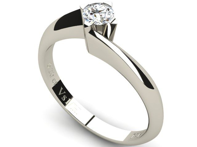 White Gold Solitaire Diamond Ring 0.20ct - Paul Jewelry