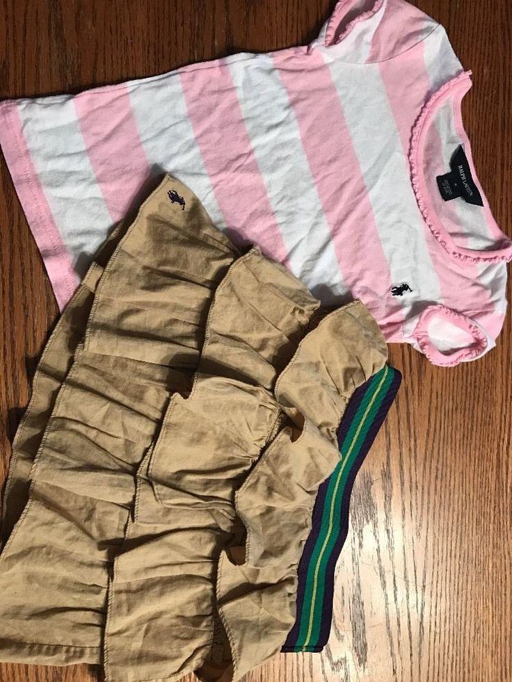 Ralph Lauren Size 6 Pink, White Striped Shirt , Tan Skirt Outfit EUC  | eBay