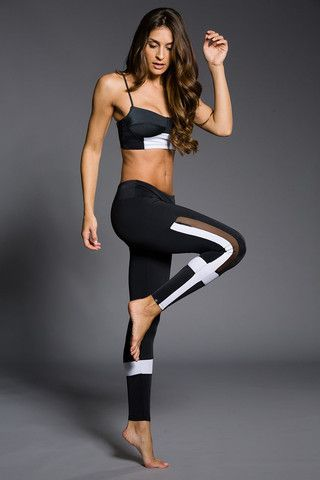 WOMENS LEGGINGS - ONZIE Power Legging - Black / White / Mesh