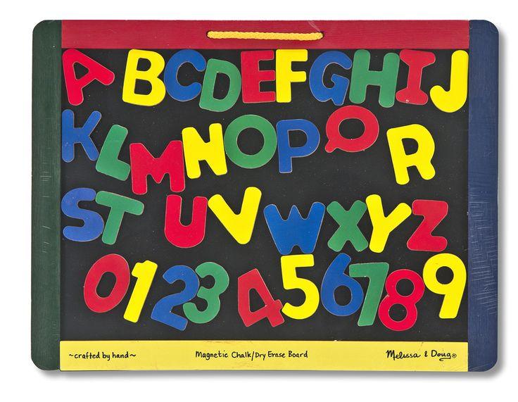 PIZARRA MAGNÉTICA DE DOBLE CARA CON ACCESORIOS Por un lado es una pizarra para tizas y de borrado en seco y por el otro es una pizarra magnética. Sea cual sea el estado de ánimo de su artista, esta mesa de dibujo portátil tiene las herramientas para expresarlo! Viene con una cajita de tizas de color, un borrador y además de 36 letras y números magnéticos PVP: 19,95 € http://www.babycaprichos.com/pizarra-magnetica-de-doble-cara-con-accesorios.html