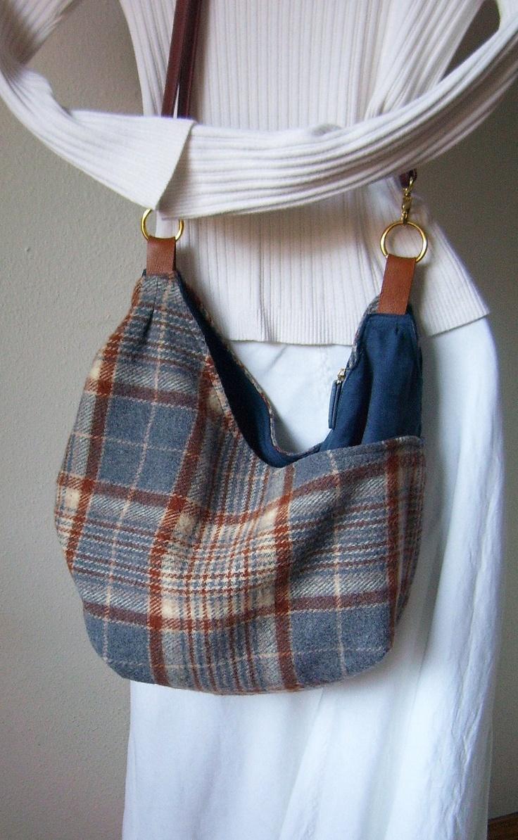 Upcycled Pendleton Wool Blanket Large Cross Body Purse Bag Again