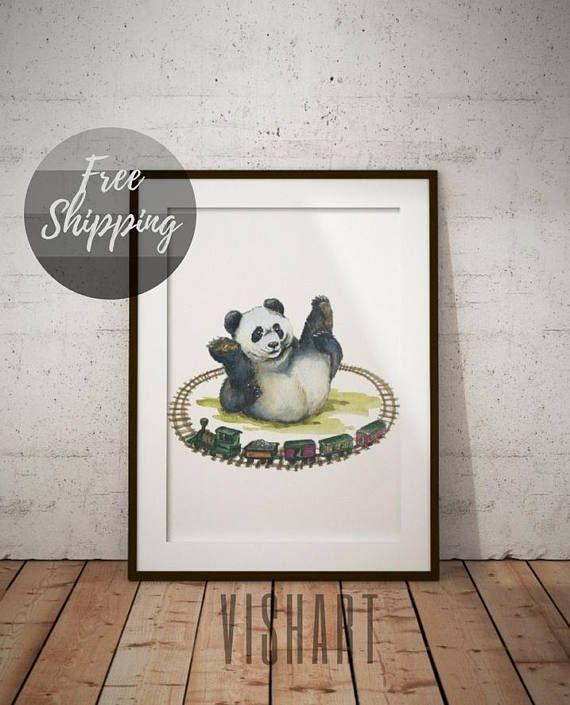 Nursery animal print panda Nursery decor on canvas Wall art