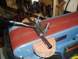 nice belt-sander mounted sharpening jig