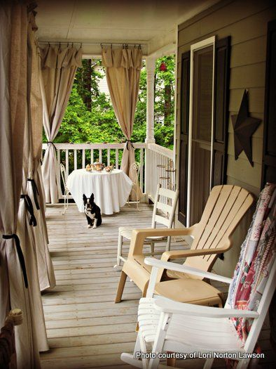 More ideas for DIY canvas drop cloth curtains and how to hang them on the patio