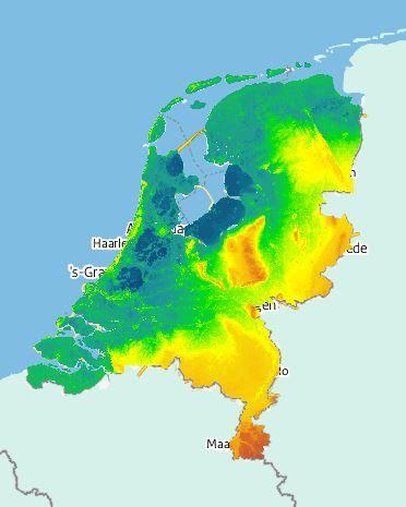 De hoogtes van elk heuveltje en bergje in Nederland.