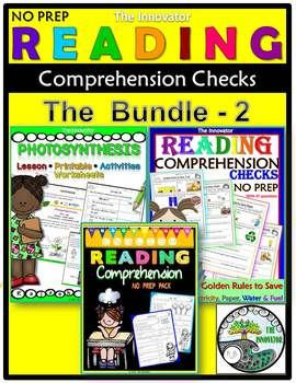 Reading Comprehension Checks - The Bundle - 2This MASSIVE Reading Comprehension Check NO PREP Bundle-2 is a compilation of my Reading Comprehension Check NO PREP & Unit plan with worksheets for grade 1 to 5! This bundle provides tons of hands-on and interactive learning for kids!