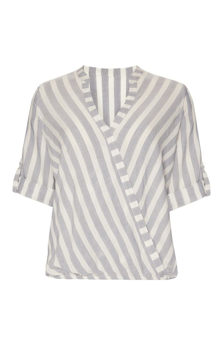 Primark london fashion week day in the life primark womenswear - Grey Laundered Wrap Stripe Blouse