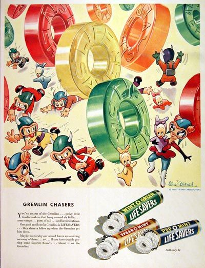 1943 Lifesavers Candy original vintage advertisement. Lifesavers candy is one good antidote for Gremlins. They cheer a fellow up when the Gremlins get him down.