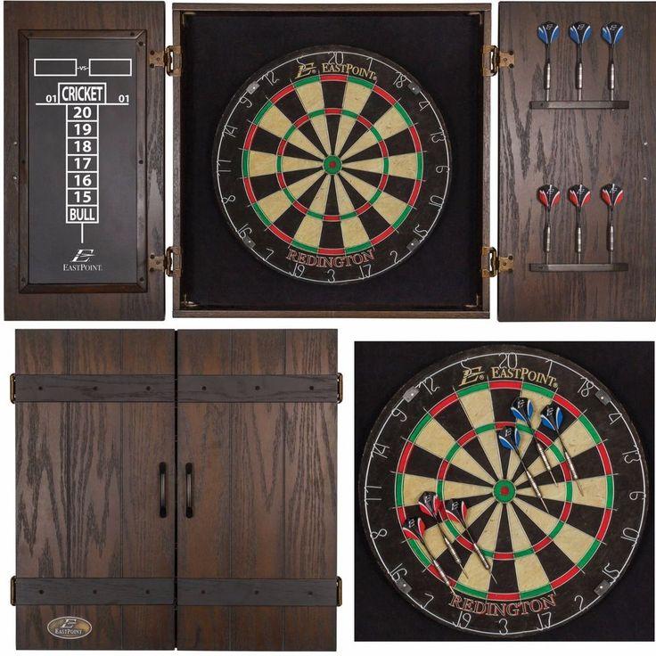 Dartboard Scoreboard Cabinet Wood Wall Mount Rustic Darts Target Official Pro #EastPointSports