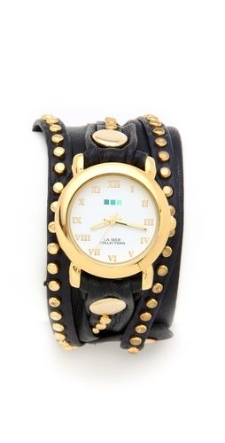 La Mer Collections Bali Stud Wrap Watch - i don't really like gold but....uuuhhh...