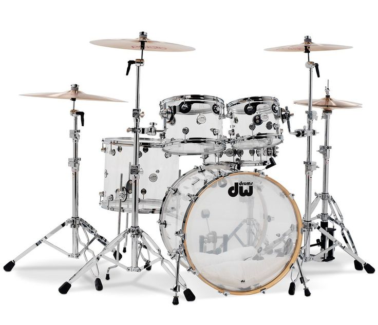 DW Drum Workshop Transparent Drum Kit, Clear Acrylic