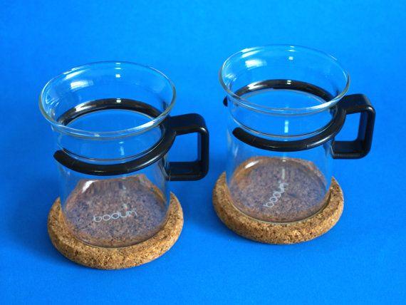Bodum Glass Tea Coffee Mugs with Black Handles  by FunkyKoala