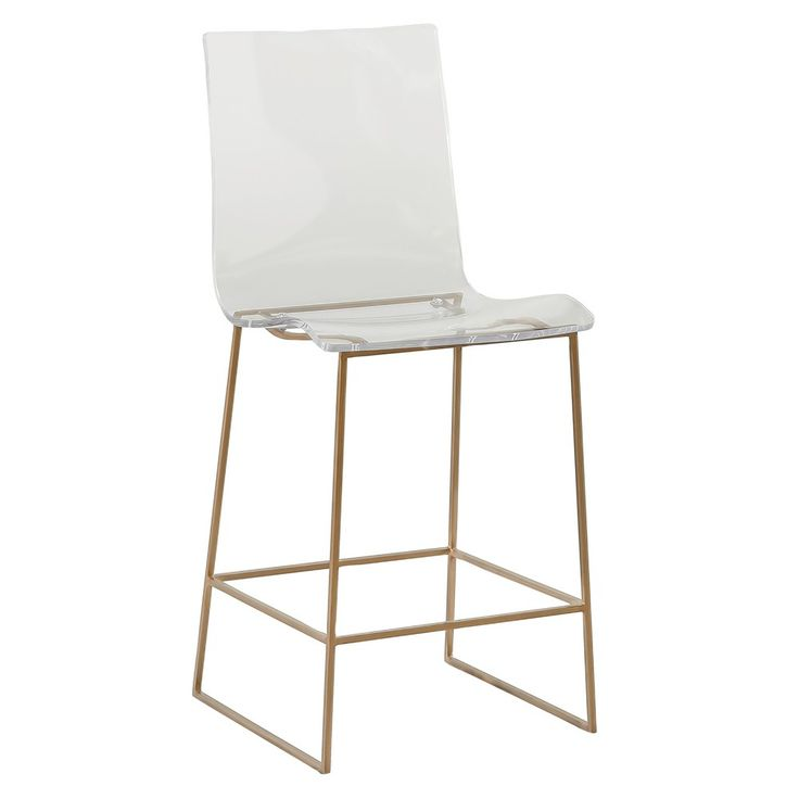 Our King clear acrylic counter stool is the perfect retro look for your kitchen! The counter height stool features a stylish mix of materials with a geometric metal base and clear Lucite acrylic creating a modern eclectic look. Materials: Metal
