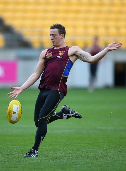 Lewis Taylor of the Lions kicks during a Brisbane Lions AFL training session at Westpac Stadium on April 24, 2014 in Wellington, New Zealand...