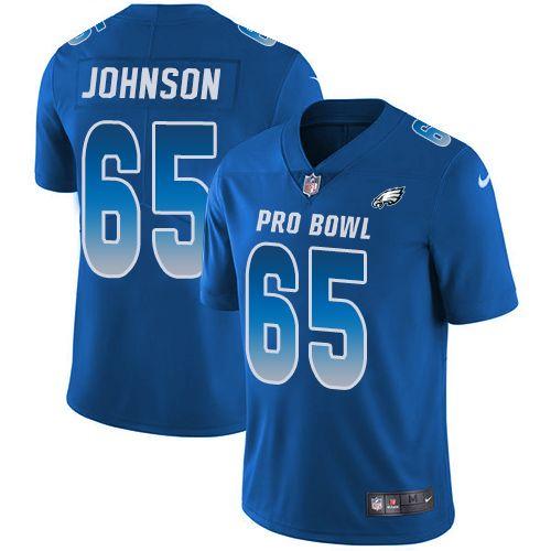 Nike Eagles #65 Lane Johnson Royal Men's Stitched NFL Limited NFC 2018 Pro Bowl Jersey