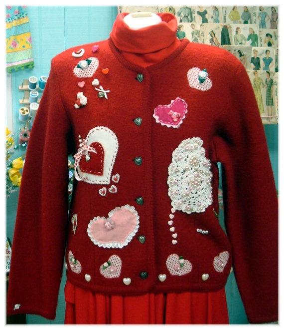 Red Hot Romantic Mushy Gushy Valentine Vintage Sweater