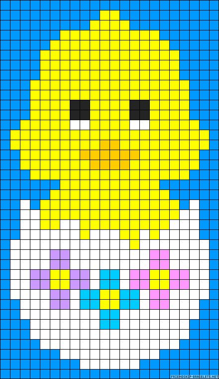 Easter chick perler bead pattern