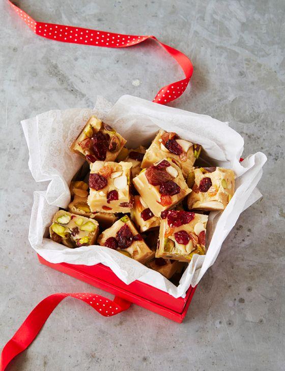 10-minute fruit and nut fudge http://www.sainsburysmagazine.co.uk/recipes/baking/tray-bakes-and-slices/item/10-minute-fruit-and-nut-fudge