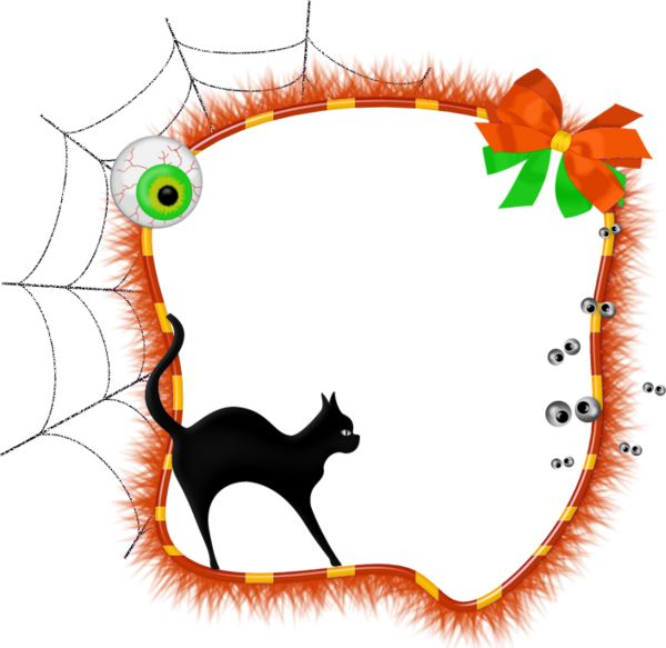 Free download - Halloween Transparent Photo Frame with Black Cat. For easy poster design.