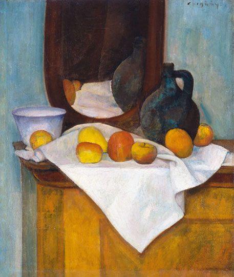 Czigány Dezső (1883-1938) Gyümölcscsendélet kancsóval Olaj, vászon, 72x61,5 cm