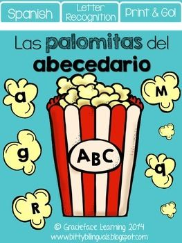 Las palomitas del abecedario  Spanish Letter RecognitionLas palomitas del abecedario is a fun activity for your primary bilingual students to review the letters of the alphabet in both uppercase and lowercase form.  The different fonts help your students with font recognition for reading different texts!You can place the materials to this activity at a center for your students.