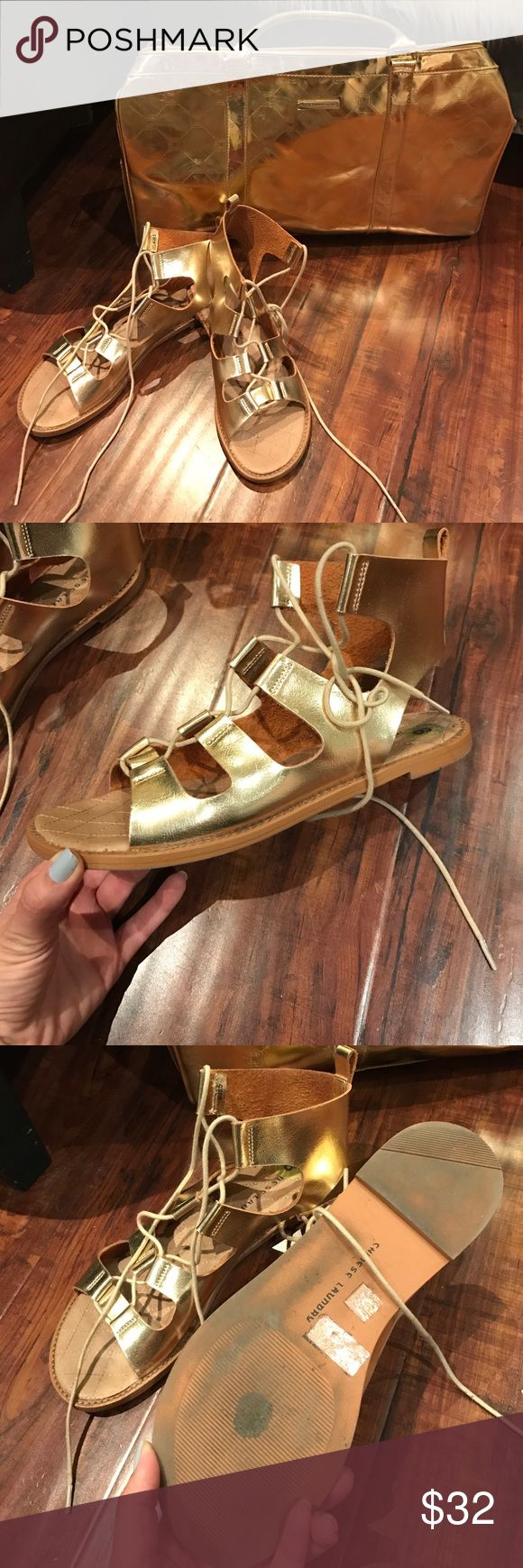 Chinese laundry ✨Golden✨ lace up Sandals! 💯 Genuine leather lace up sandals! Super cute sandals in excellent condition! Worn only couple of times! Very soft inside. The bag in the pic as also available for sale! Chinese Laundry Shoes Sandals