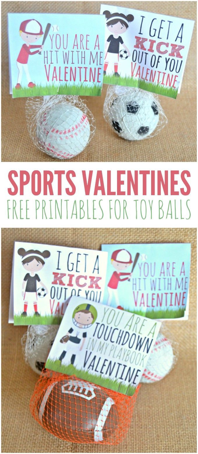 Fun sports valentines printables - great for candy free classrooms! Includes printables for baseball, football, soccer and basketball.
