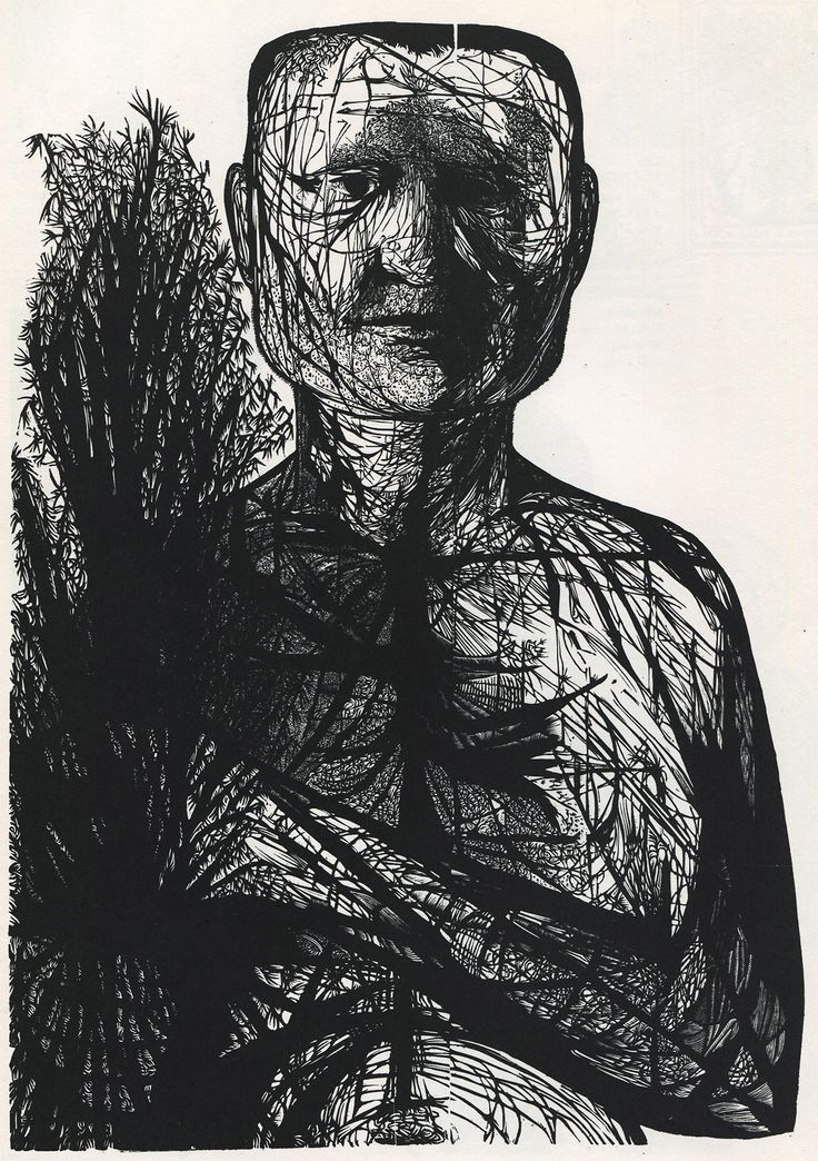 Man with forsythia, by Leonard Baskin 1953
